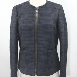 Massimo Dutti Jacket Boucle Knit Coat Faux Leather